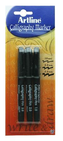 Feutres Calligraphy 241 1,0mm, 2,0mm, 3,0mm. Noir. Présentés sous blister par 3 pièces.