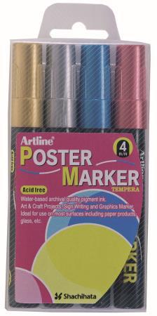 Pochette de 4 marqueurs Poster Marker 4,0mm métal ass.