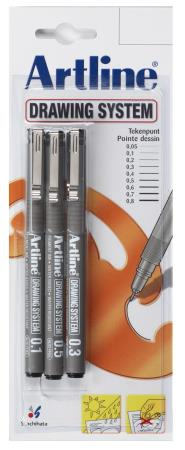 3 feutres Drawing Pen 1/3/5 noirs. Blister