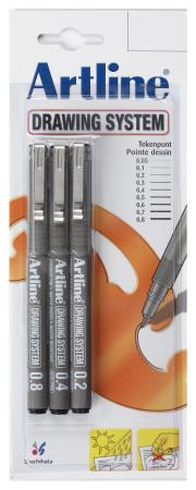 3 feutres Drawing Pen 2/4/8 noirs. Blister