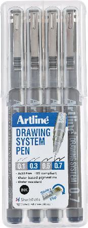Etui de 4 feutres Drawing Pen 1/3/5/7 noirs