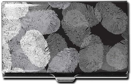 """Porte-cartes en métal """"Fingerprints"""". Etui cartonné."""