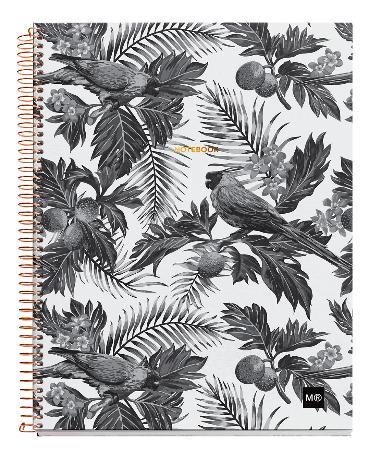 Carnet de note quadrillé Tropical Black & White avec couverture cartonnée. Reliure à spirales. Format A4