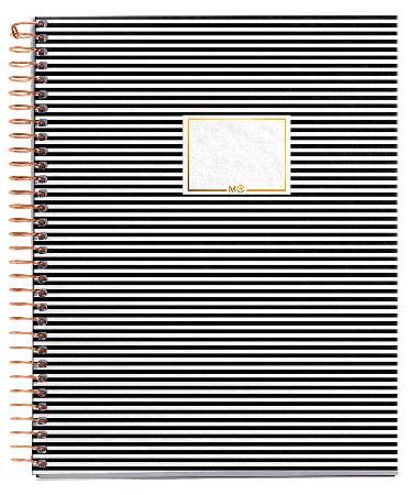 Carnet de note quadrillé Stripes Black & White Square avec couverture cartonnée. Reliure à spirales. Format A5