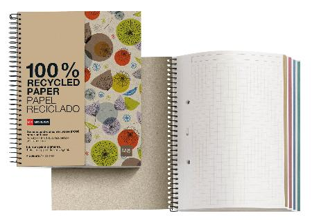 Carnet de note quadrillé EcoBirds avec couverture cartonnée. Reliure à spirales. Format A5.