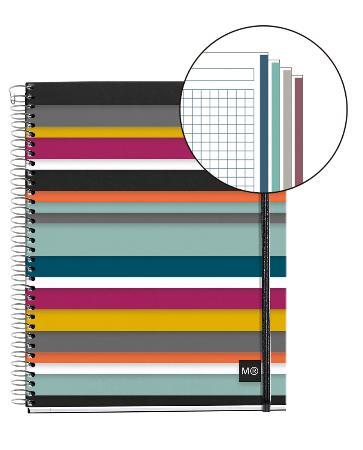Carnet de note quadrillé Oslo Square avec couverture PP et élastique. Reliure à spirales. Format A4.