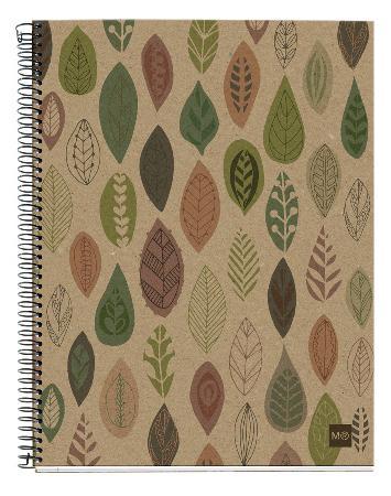 Carnet de note quadrillé Eco Leaves avec couverture cartonnée. Reliure à spirales. Format A4.
