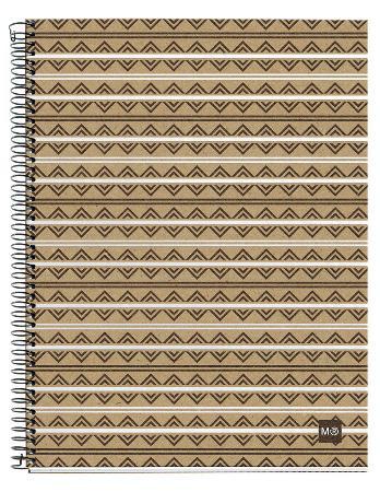 Carnet de note quadrillé Eco Aztec avec couverture cartonnée. Reliure à spirales. Format A4.