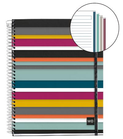 Carnet de note ligné Oslo Square avec couverture PP et élastique. Reliure à spirales. Format A6.