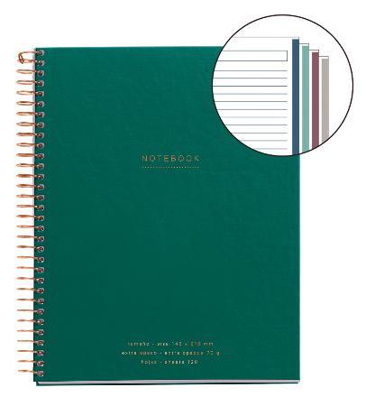 Carnet de note ligné Mr Green Square avec couverture cartonnée. Reliure à spirales. Format A5