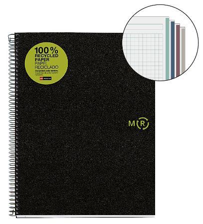 Carnet de note quadrillé 100% papier recyclé avec couverture PP. Reliure à spirales. Format A4.