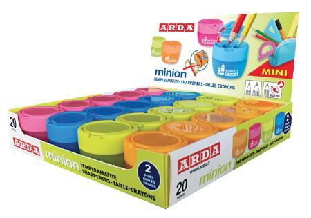 """Taille-crayons 2 trous """"Minion"""". En présentoir de 12 pièces."""