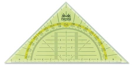 """Equerre géométrique """"Elastika"""" 45° 16cm.  Pochette blister."""