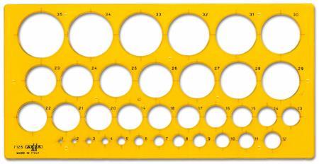 Gabarit circulaire 1 à 35mm. Pochette blister.