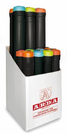 """Présentoir de 14 tubes à dessins : 8x """"small"""" et 6x """"XL"""". Noir."""