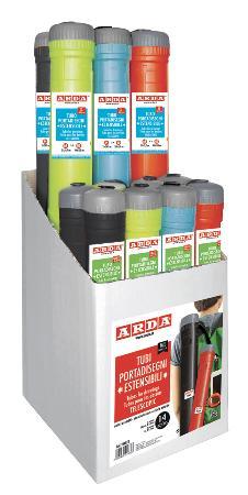 """Présentoir de 14 tubes à dessins : 8x """"small"""" et 6x """"XL"""". Assortiment de couleurs."""