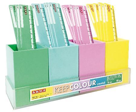 Présentoir de 48 lattes de 16 cm  Keep Color Pastel.