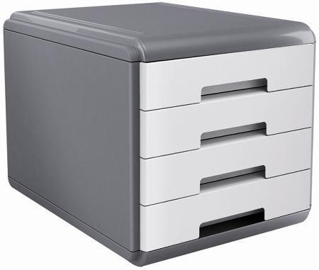 """Bloc à courrier avec 4 tiroirs. Série """"MY DESK"""". Coloris gris/blanc."""