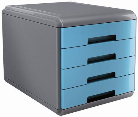 """Bloc à courrier avec 4 tiroirs. Série """"MY DESK"""". Coloris gris/turquoise."""