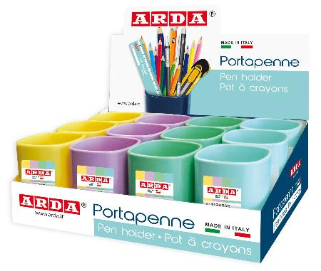 Pots à crayons Keep Color Pastel en display de 12 pièces.