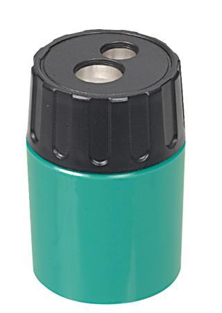 Taille-crayon 2 trous cylindrique. Métal. Coloris assortis.