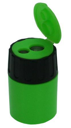 Taille-crayon 2 trous cylindrique avec capuchon. Métal. Coloris assortis.