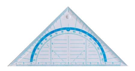 Equerre géometrique 45° 16cm. Boîte de 50 pièces.