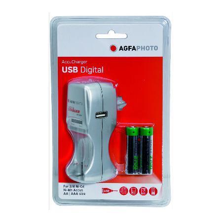 Chargeur pour piles HR03 et HR06. Port USB Fourni avec 2 piles. Sous blister.